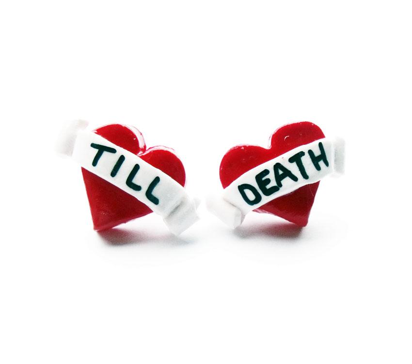 Till Death Tattoo Heart Studs