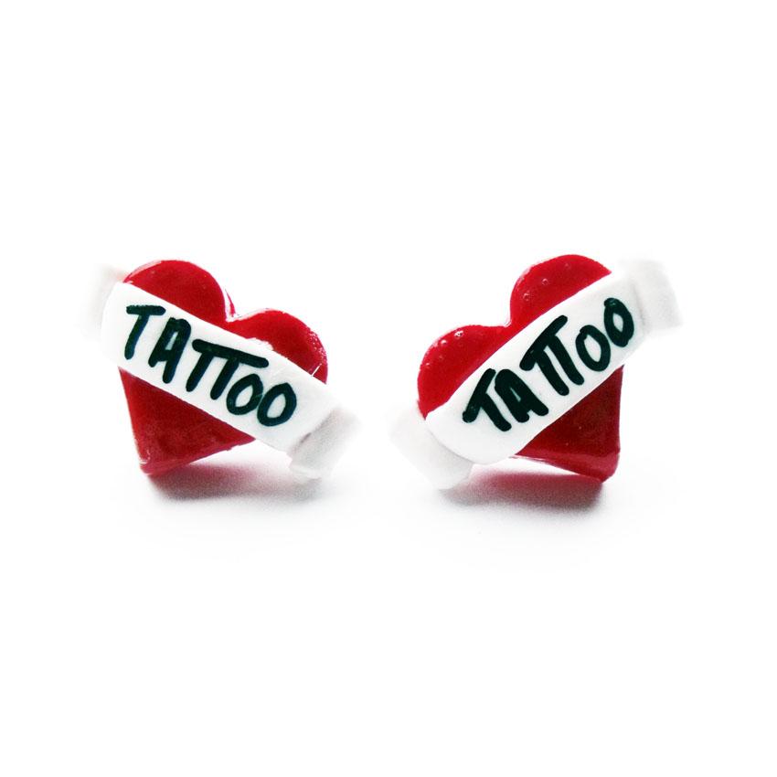 Tattoo Heart Stud Earrings