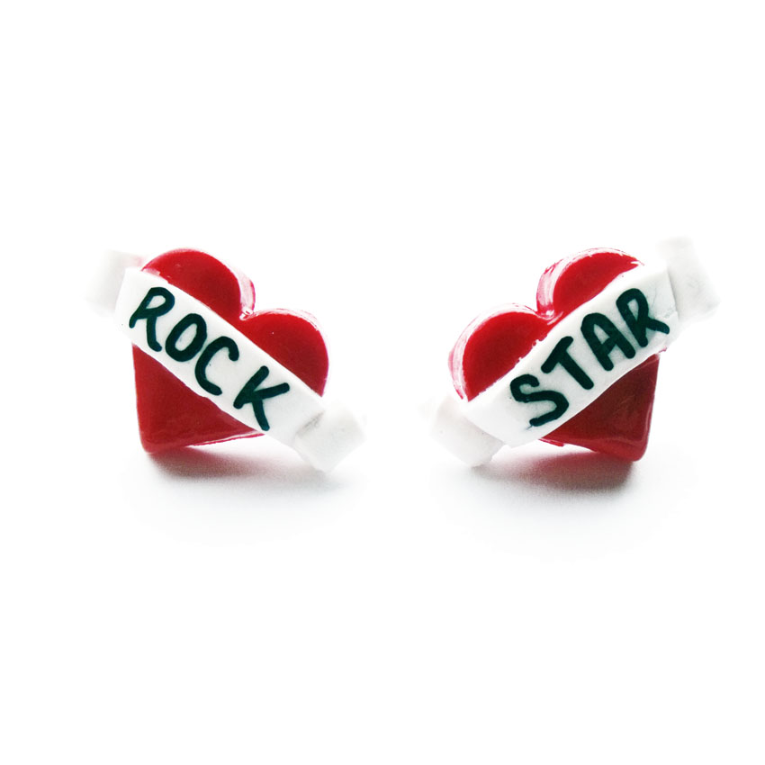 Rock Star Tattoo Heart Earrings