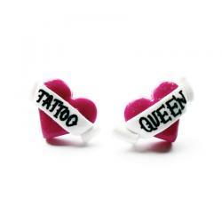Tattoo Queen Heart Stud Earrings