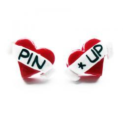 Pin Up Tattoo Heart Studs