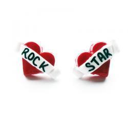 Rock Star Tattoo Heart Earrings